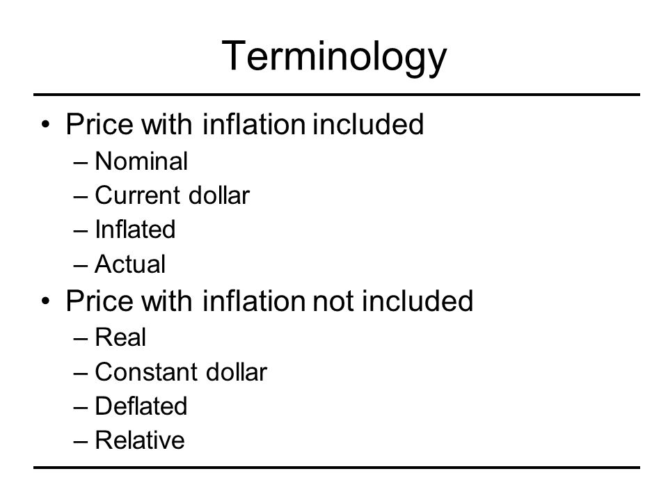 Terminology Price with inflation included