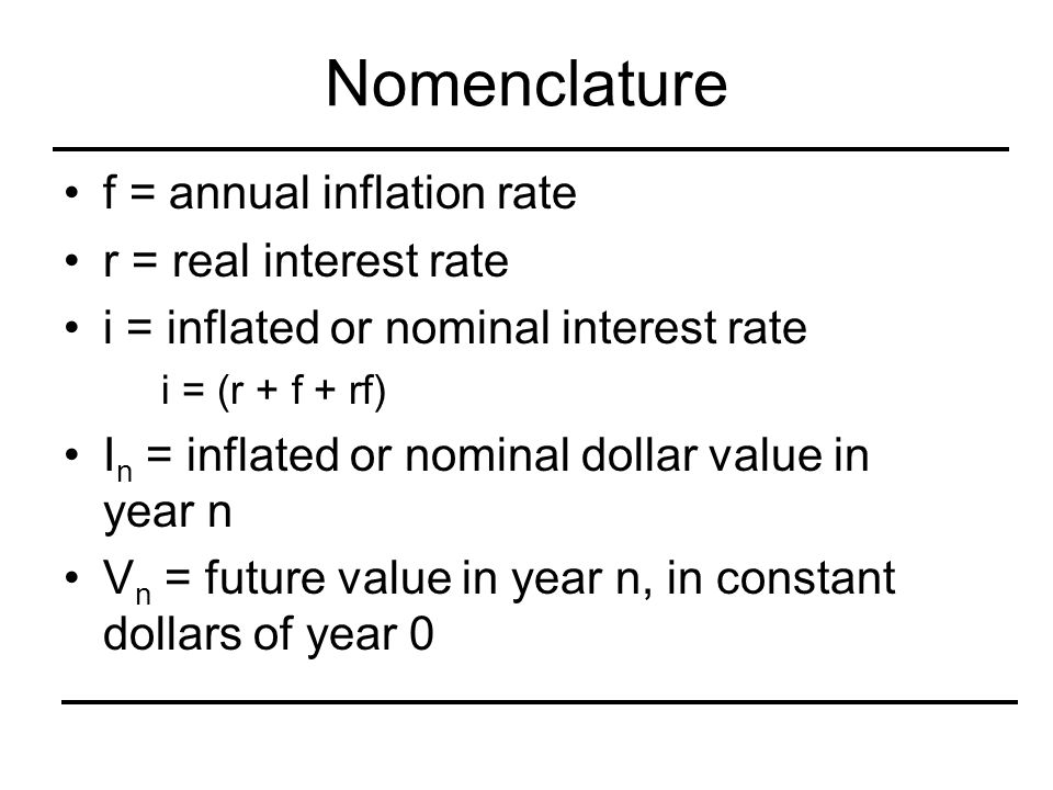 Nomenclature f = annual inflation rate r = real interest rate