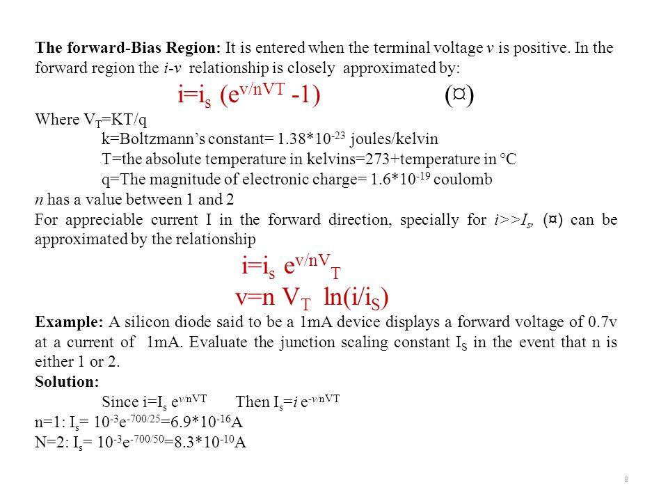 i=is (ev/nVT -1) (¤) v=n VT ln(i/iS)