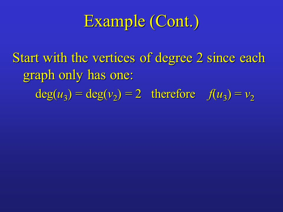 Example (Cont.) Start with the vertices of degree 2 since each graph only has one: deg(u3) = deg(v2) = 2 therefore f(u3) = v2.