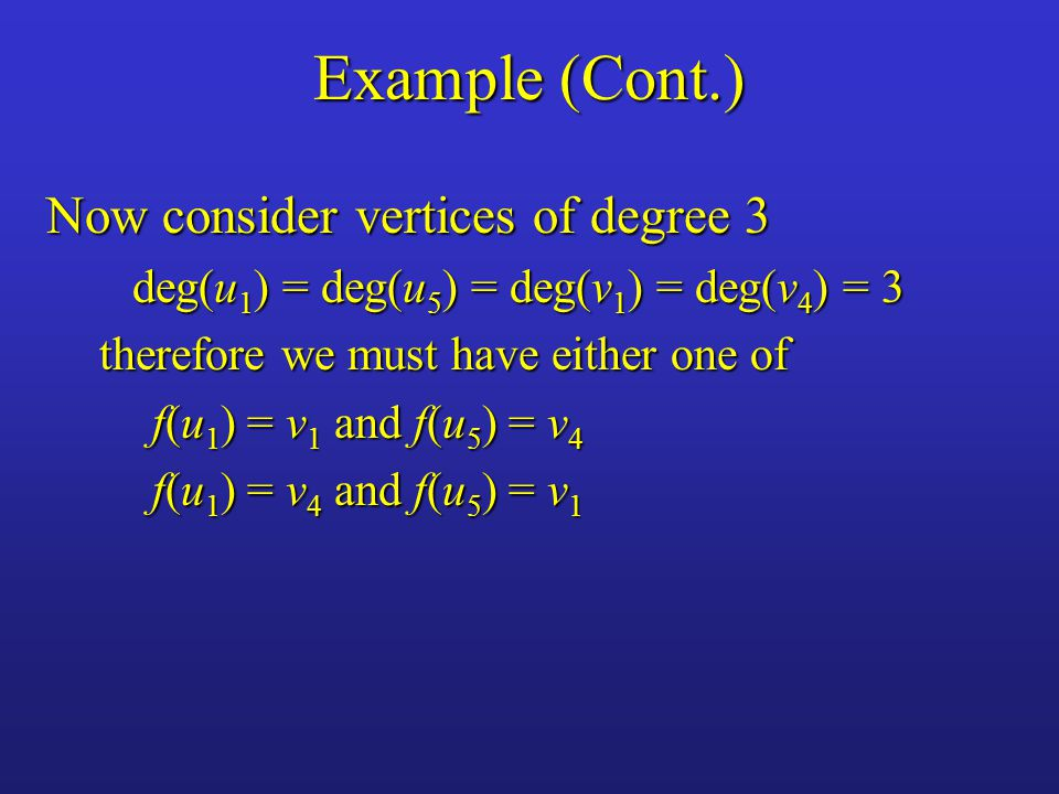 Example (Cont.) Now consider vertices of degree 3