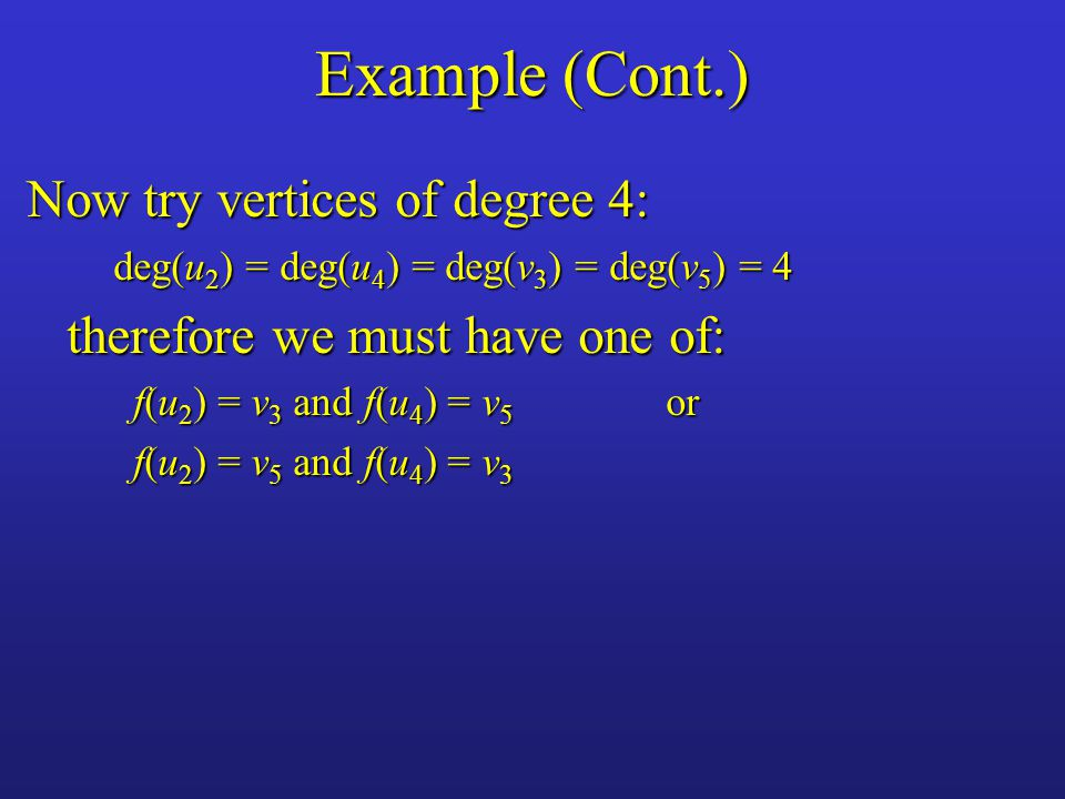 Example (Cont.) Now try vertices of degree 4: