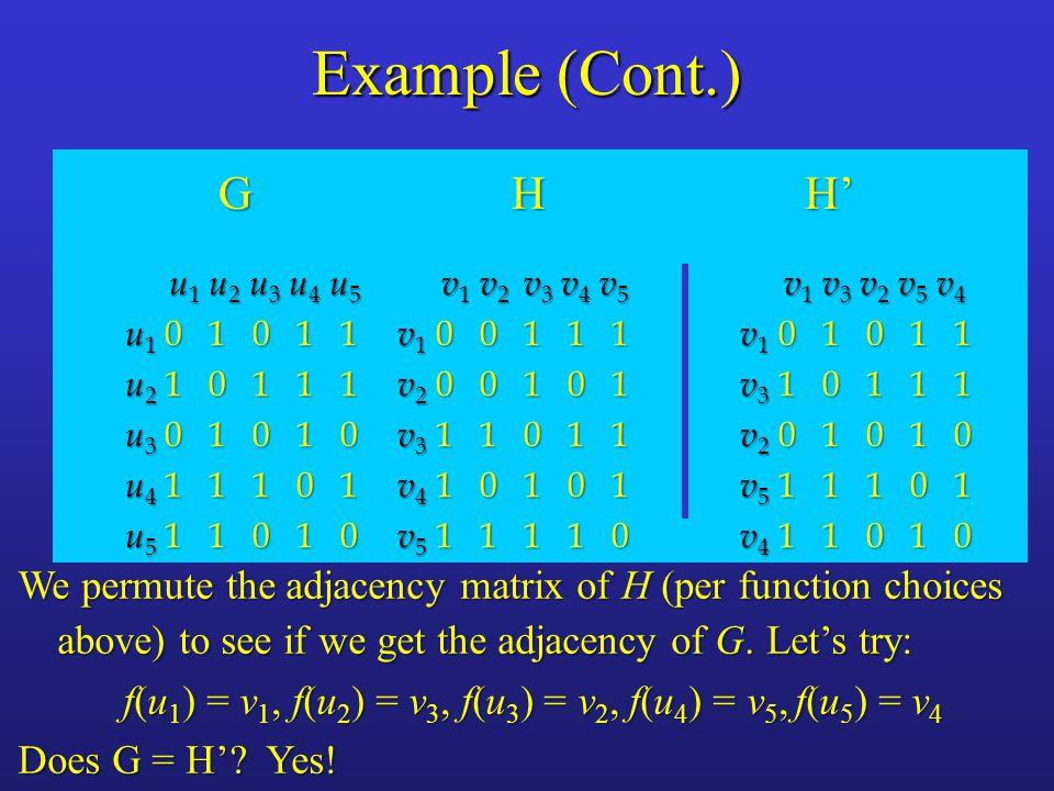 Example (Cont.) G H H' u1 u2 u3 u4 u5. u1 0 1 0 1 1. u2 1 0 1 1 1. u3 0 1 0 1 0.