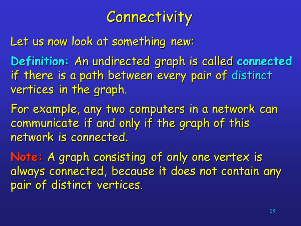 Connectivity Let us now look at something new: