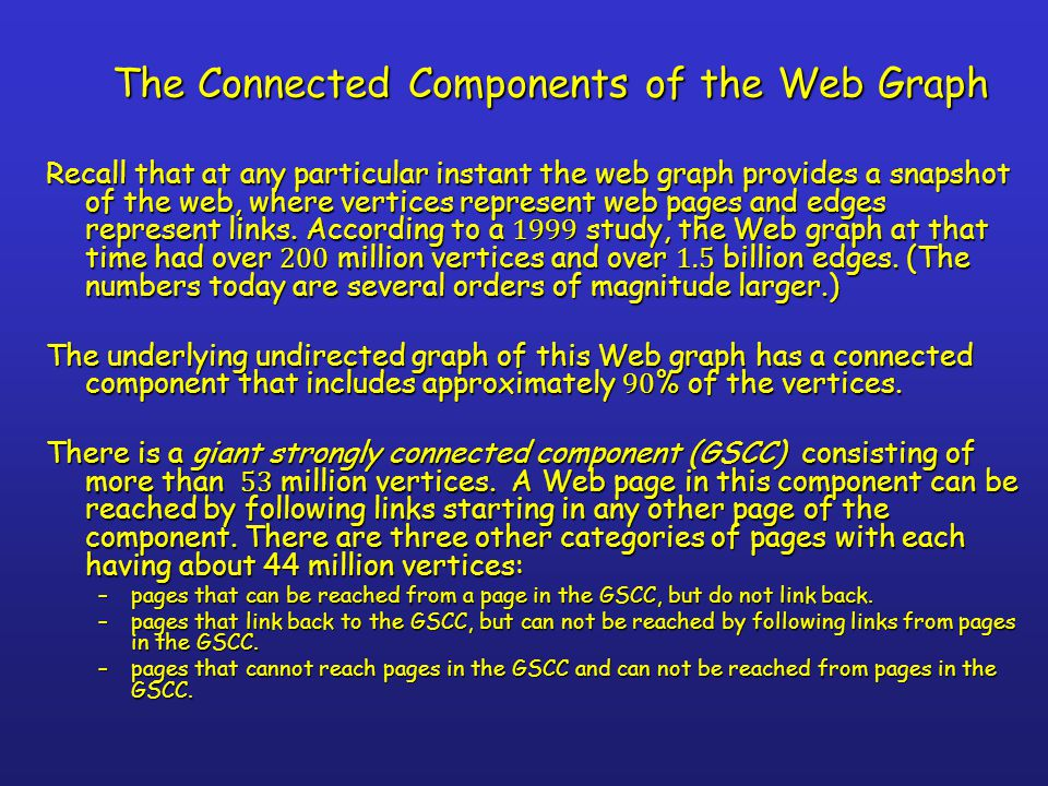 The Connected Components of the Web Graph