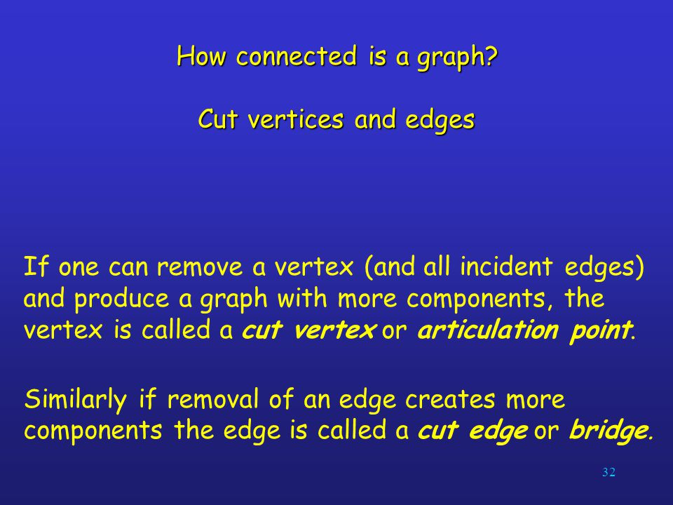 How connected is a graph Cut vertices and edges