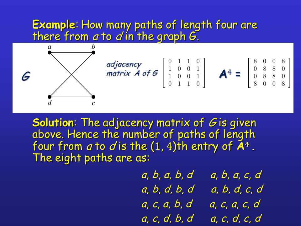 Example: How many paths of length four are there from a to d in the graph G. Solution: The adjacency matrix of G is given above. Hence the number of paths of length four from a to d is the (1, 4)th entry of A4 . The eight paths are as: