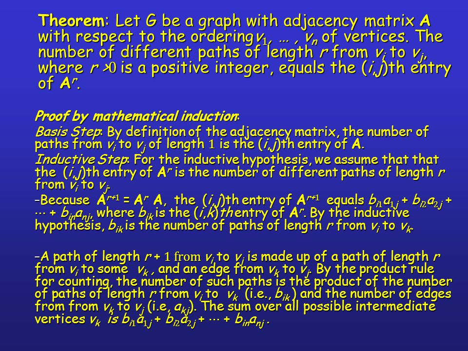 Theorem: Let G be a graph with adjacency matrix A with respect to the orderingv1, … , vn of vertices. The number of different paths of length r from vi to vj, where r >0 is a positive integer, equals the (i,j)th entry of Ar.