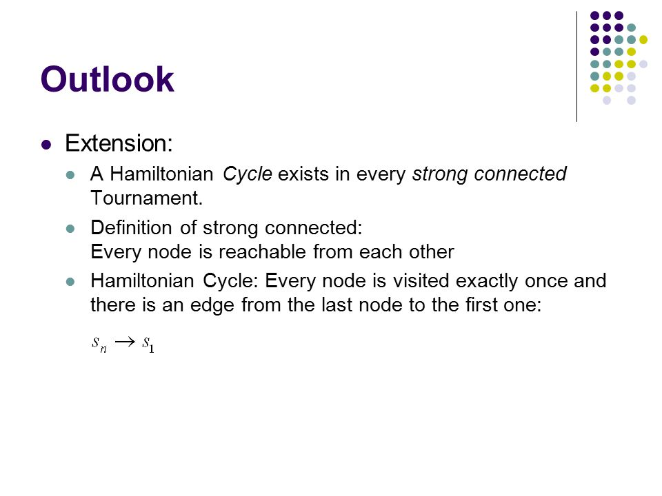 Outlook Extension: A Hamiltonian Cycle exists in every strong connected Tournament.