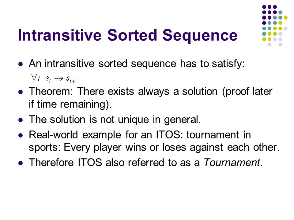 Intransitive Sorted Sequence
