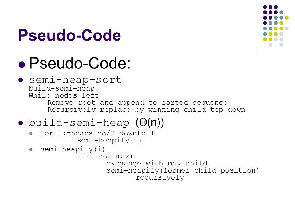 Pseudo-Code Pseudo-Code: