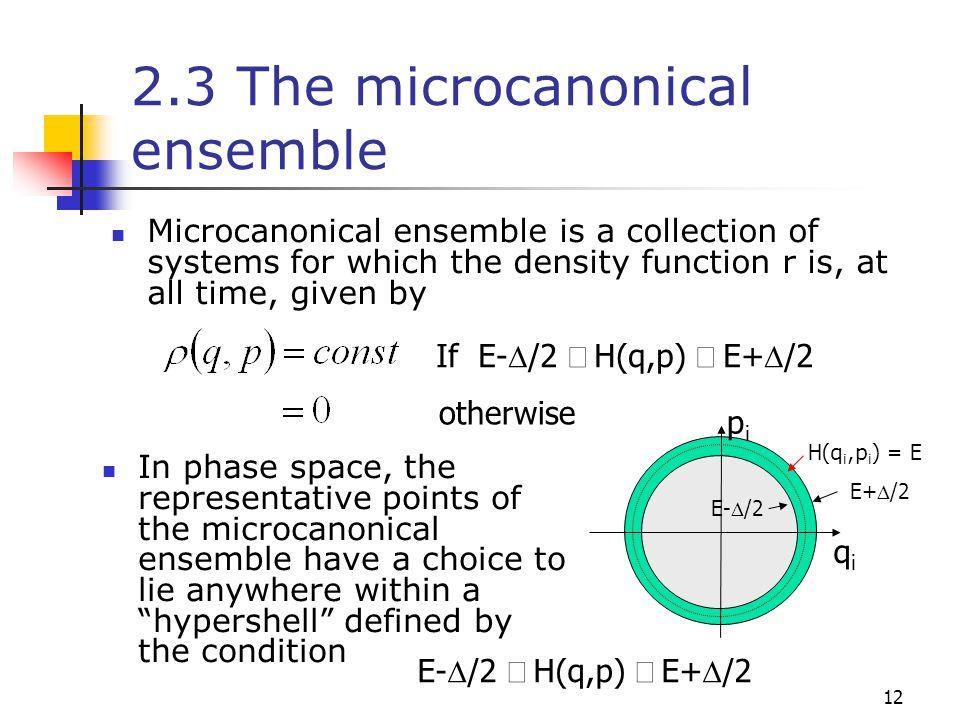 2.3 The microcanonical ensemble