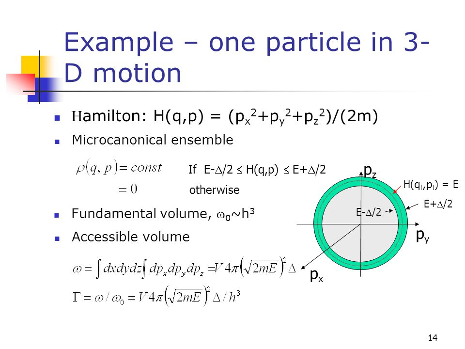 Example – one particle in 3-D motion