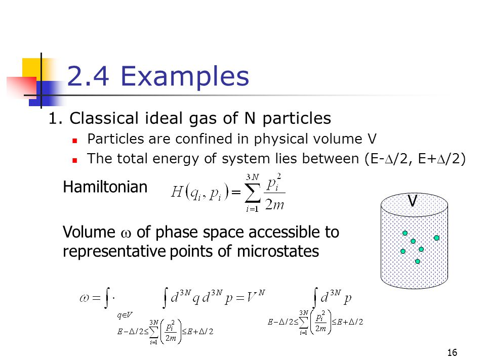 2.4 Examples 1. Classical ideal gas of N particles Hamiltonian V