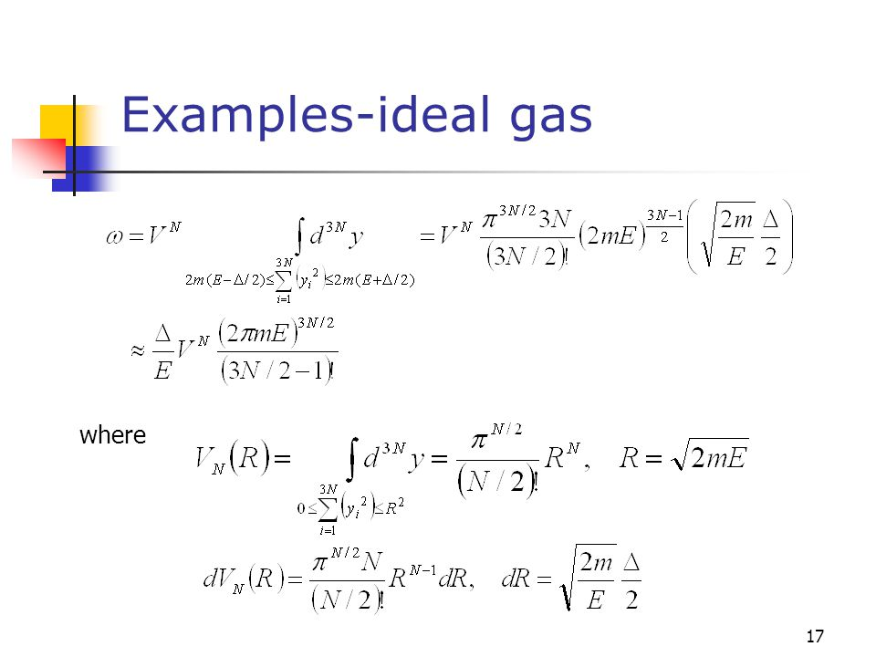 Examples-ideal gas where