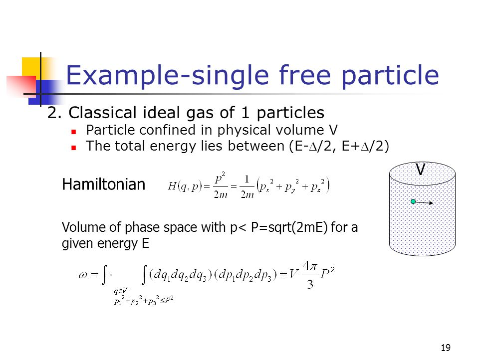 Example-single free particle