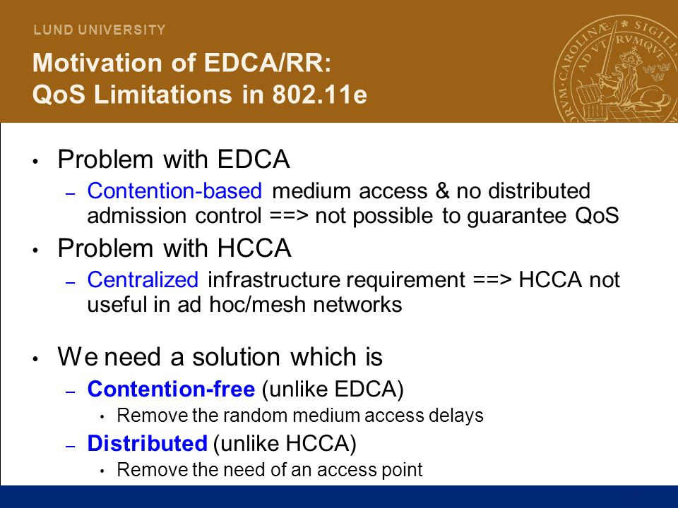 Motivation of EDCA/RR: QoS Limitations in 802.11e