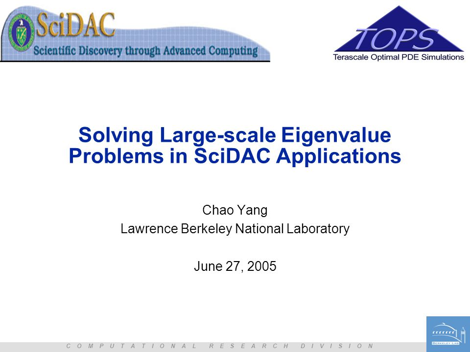 Solving Large-scale Eigenvalue Problems in SciDAC Applications