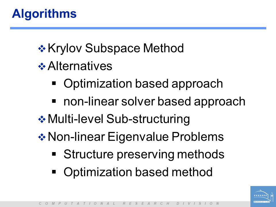 Algorithms Krylov Subspace Method. Alternatives. Optimization based approach. non-linear solver based approach.