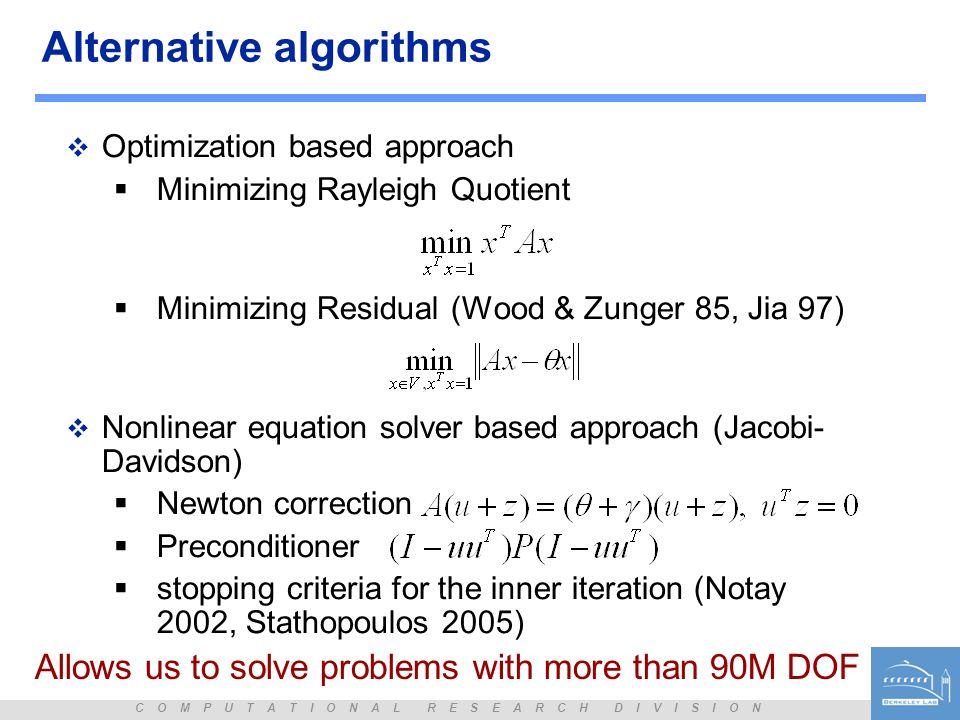 Alternative algorithms