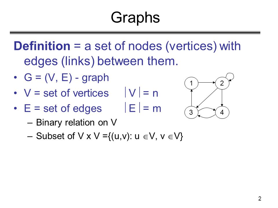Graphs Definition = a set of nodes (vertices) with edges (links) between them. G = (V, E) - graph.