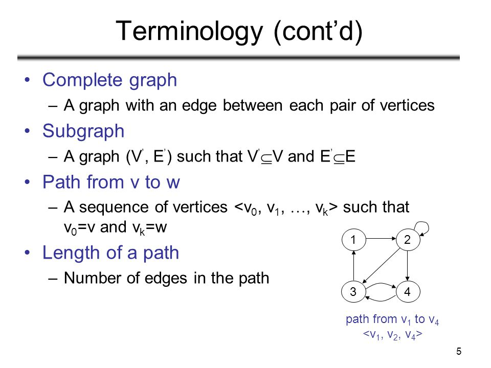Terminology (cont'd) Complete graph Subgraph Path from v to w