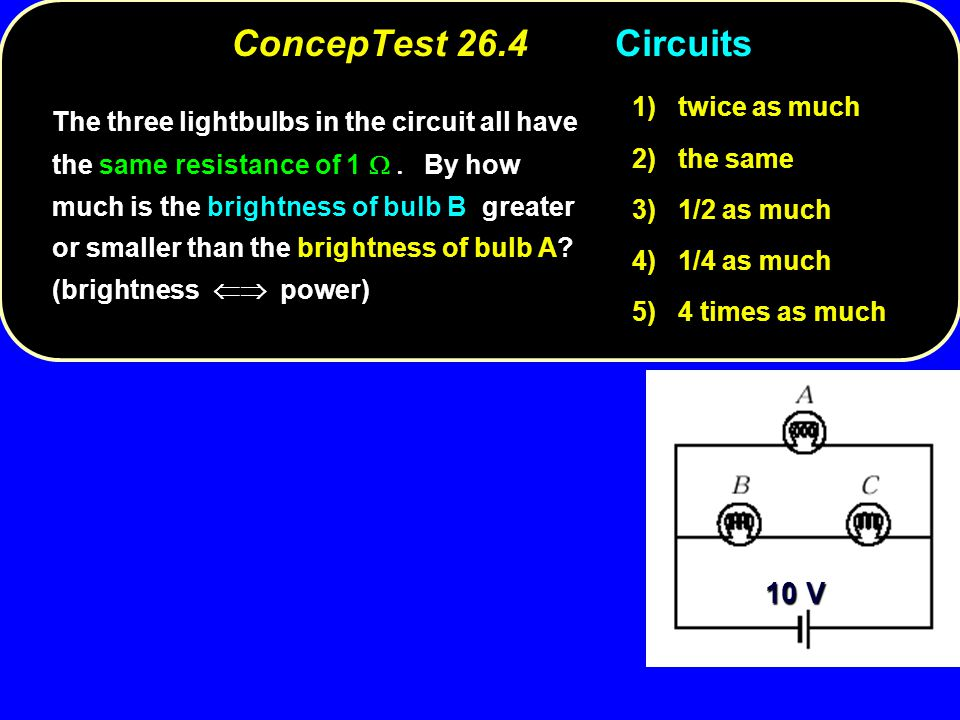 ConcepTest 26.4 Circuits 1) twice as much. 2) the same. 3) 1/2 as much. 4) 1/4 as much. 5) 4 times as much.