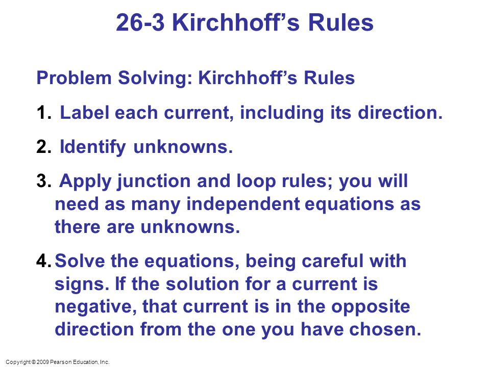 26-3 Kirchhoff's Rules Problem Solving: Kirchhoff's Rules