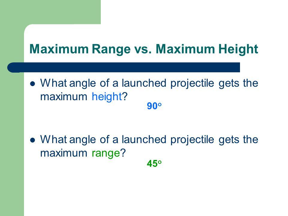 Maximum Range vs. Maximum Height