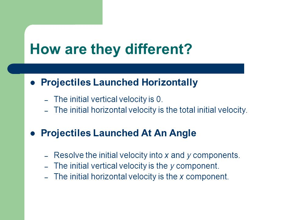 How are they different Projectiles Launched Horizontally