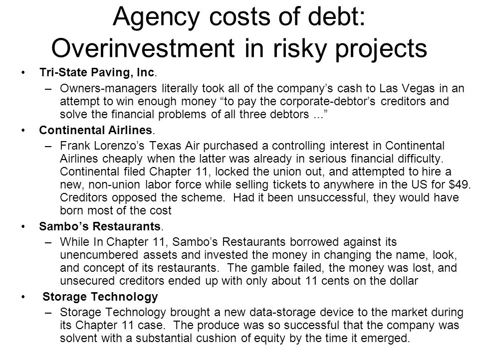 Agency costs of debt: Overinvestment in risky projects