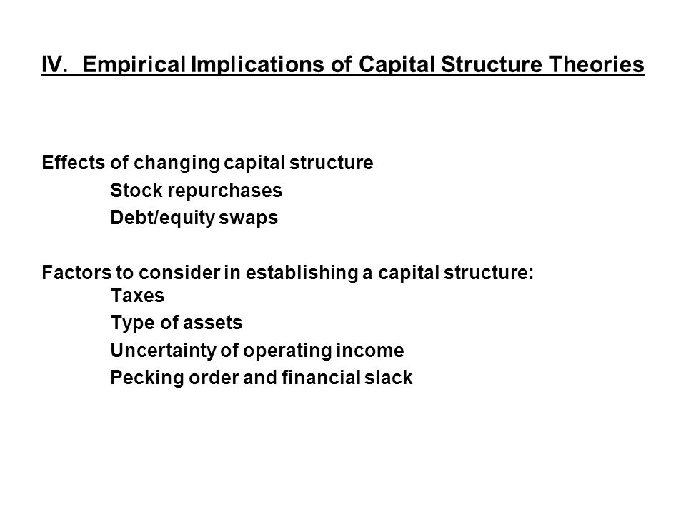 IV. Empirical Implications of Capital Structure Theories