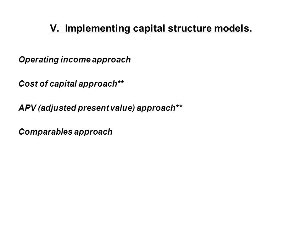 V. Implementing capital structure models.