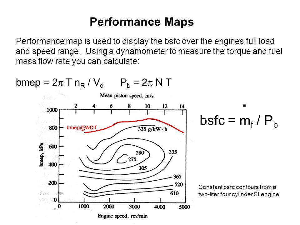 bsfc = mf / Pb Performance Maps bmep = 2 T nR / Vd Pb = 2 N T