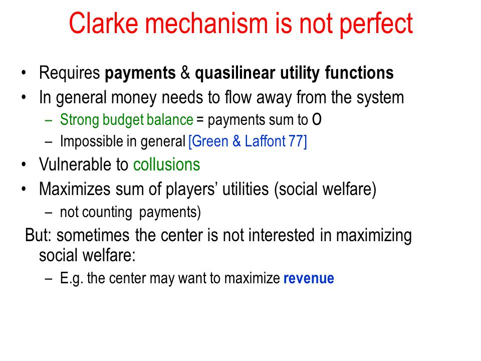Clarke mechanism is not perfect