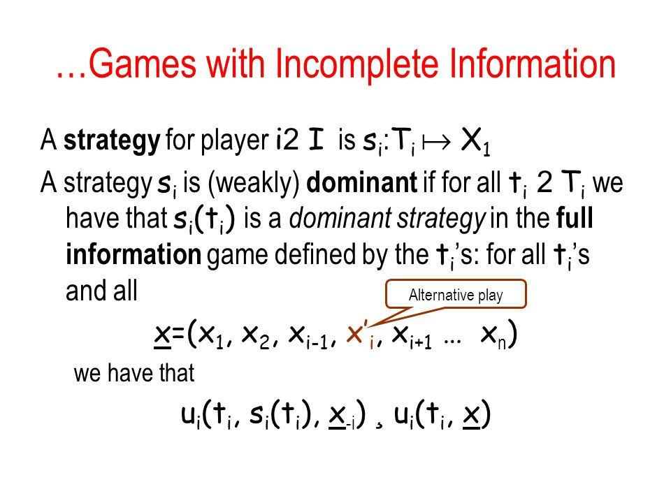 …Games with Incomplete Information