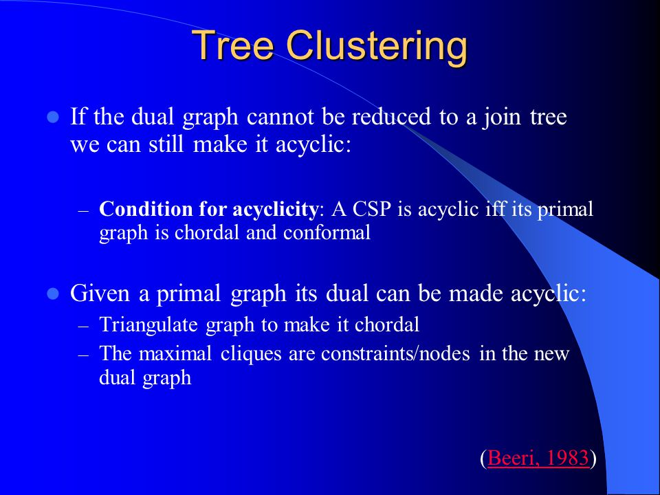 Tree Clustering If the dual graph cannot be reduced to a join tree we can still make it acyclic: