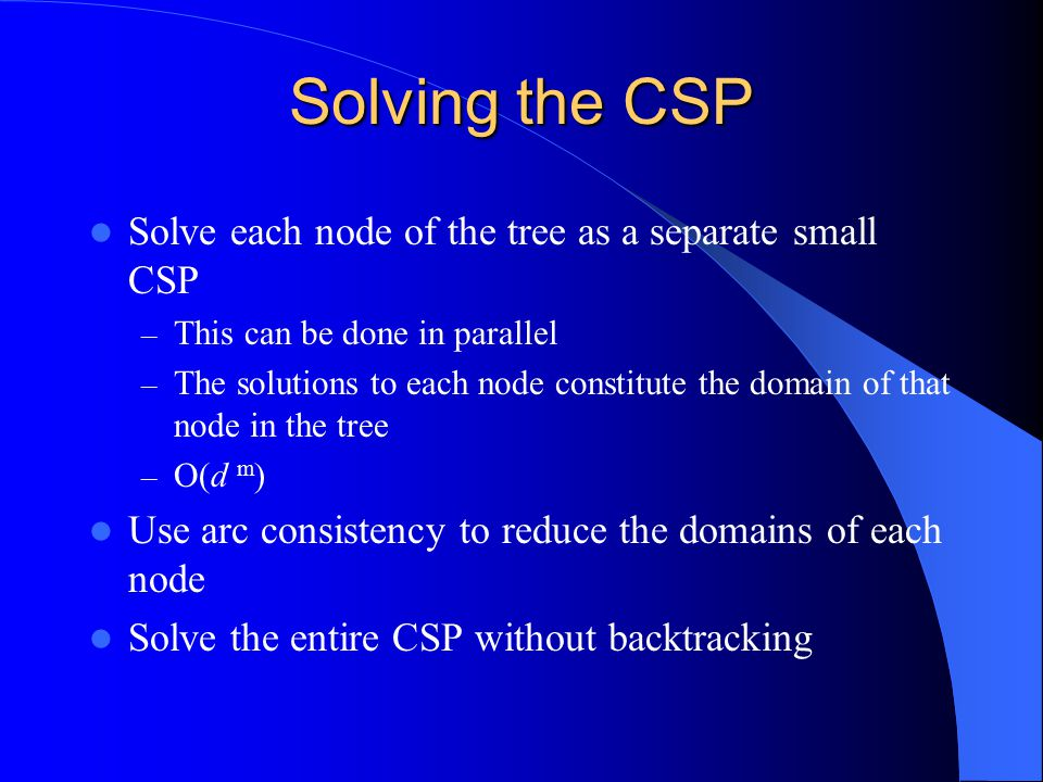 Solving the CSP Solve each node of the tree as a separate small CSP