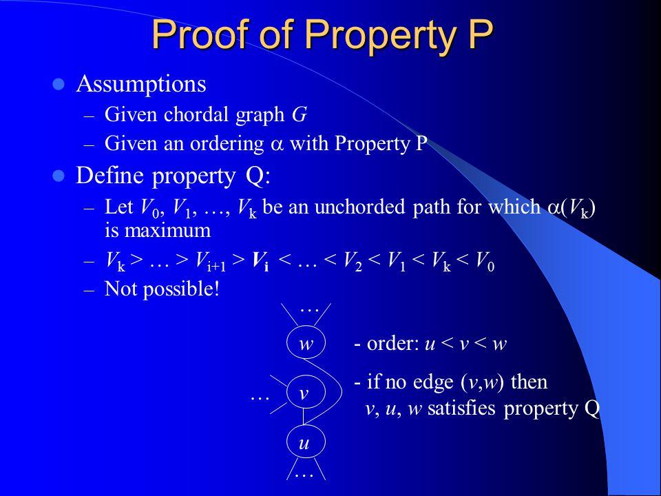 Proof of Property P Assumptions Define property Q: