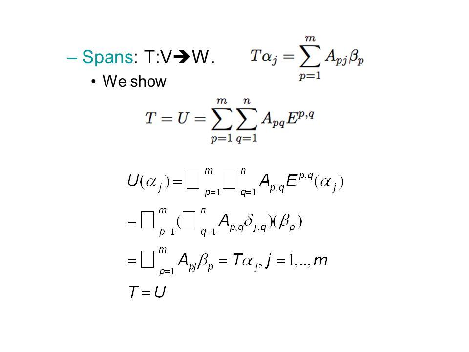 Spans: T:VW. We show
