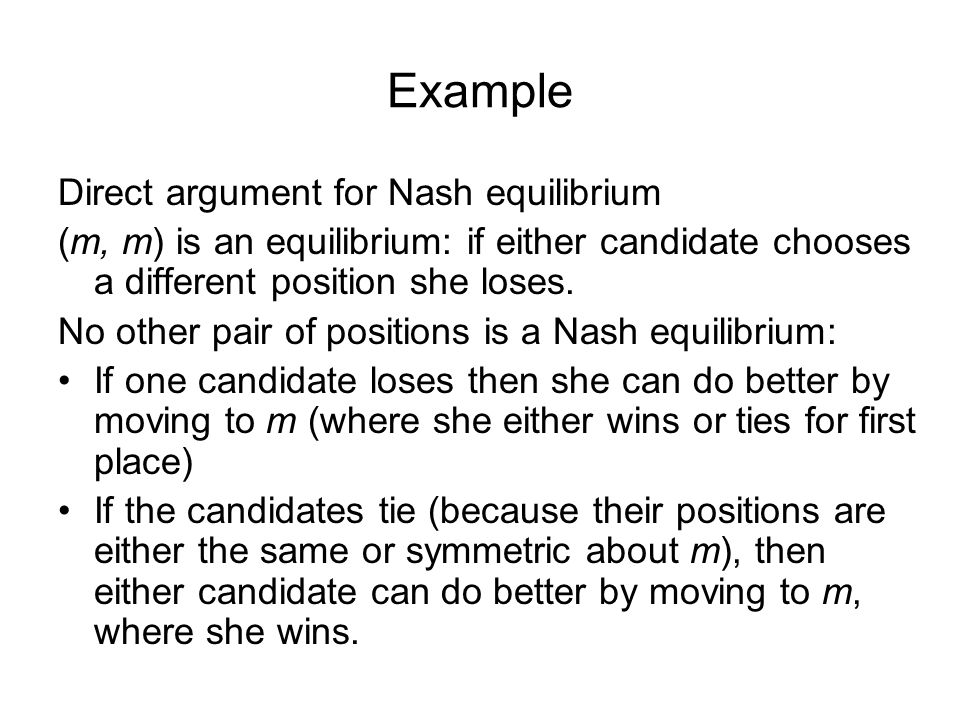 Example Direct argument for Nash equilibrium