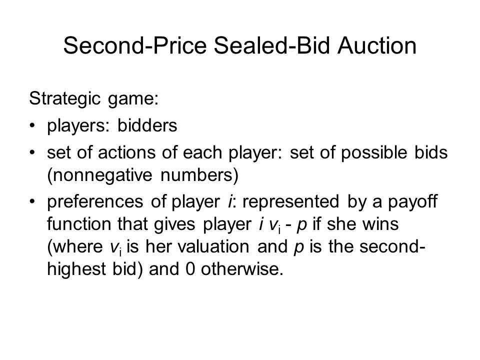 Second-Price Sealed-Bid Auction