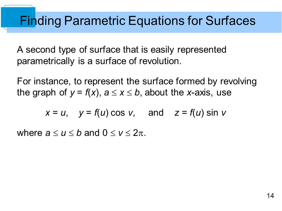 Finding Parametric Equations for Surfaces