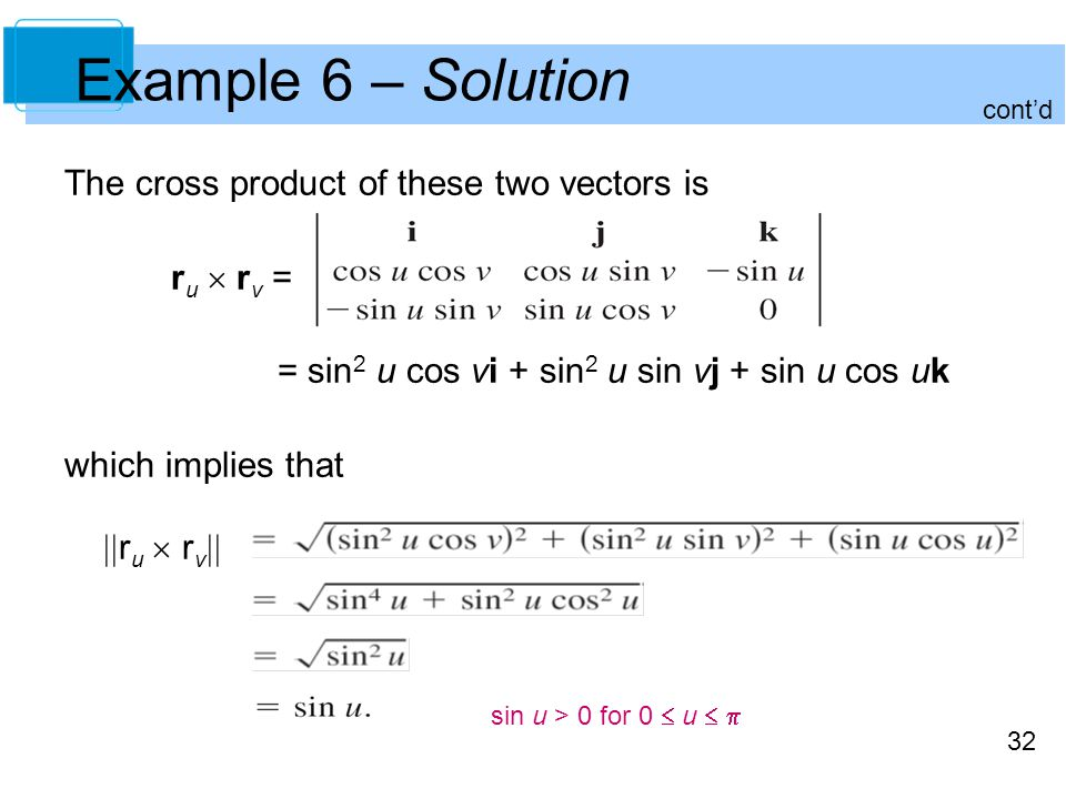 Example 6 – Solution The cross product of these two vectors is