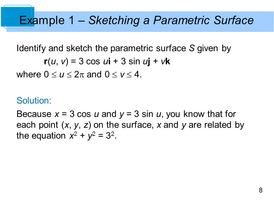 Example 1 – Sketching a Parametric Surface