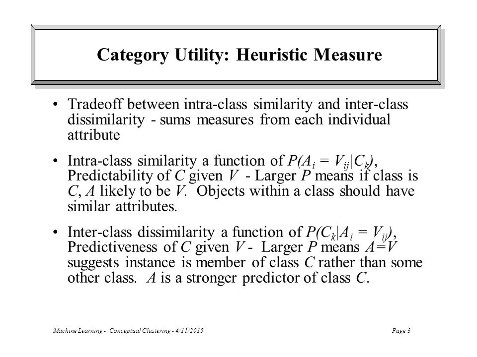 Category Utility: Heuristic Measure