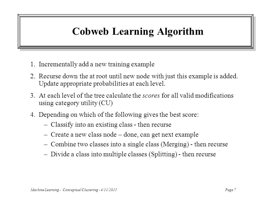 Cobweb Learning Algorithm