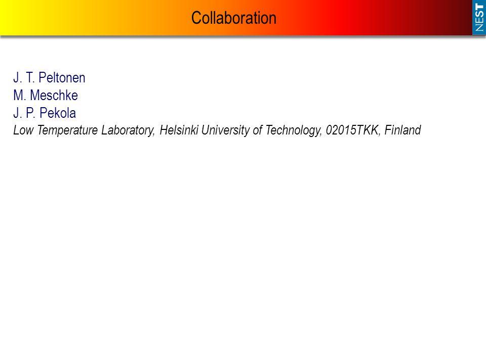 Collaboration J. T. Peltonen M. Meschke J. P. Pekola