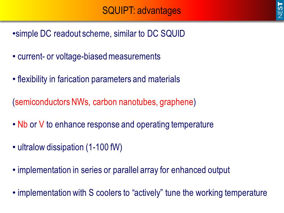SQUIPT: advantages simple DC readout scheme, similar to DC SQUID