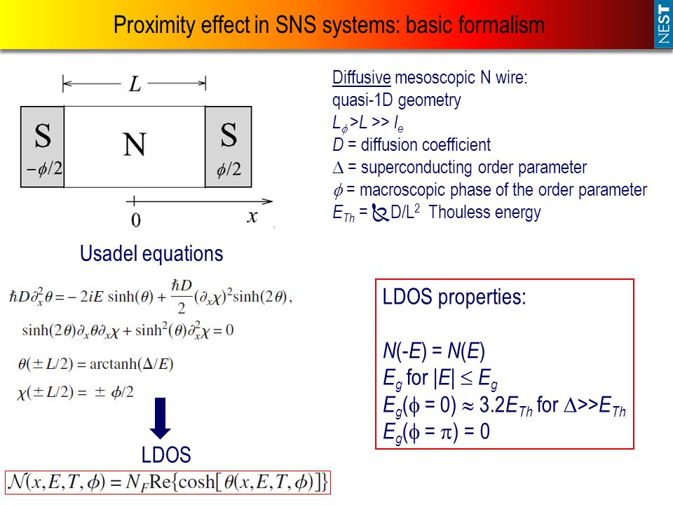 Proximity effect in SNS systems: basic formalism